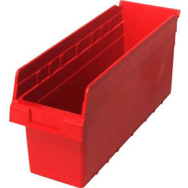 "Quantum Plastic Shelf Storage Bin QSB804 Nestable, 6-5/8""W x 17-7/8""D x 8""H, Red - Pkg Qty 20"