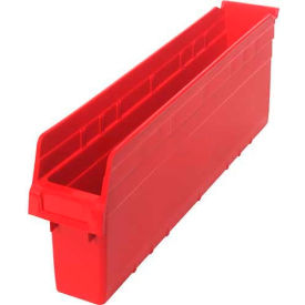 "Quantum Plastic Shelf Storage Bin QSB805 Nestable, 4-3/8""W x 23-5/8""D x 8""H, Red - Pkg Qty 16"