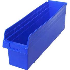 """Lot of 6 Plastic Shelf Bin Nestable 6-5//8/""""W x 23-5//8/"""" D x 4/""""H Blue"""