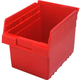 "Quantum Plastic Shelf Storage Bin QSB807 Nestable, 8-3/8""W x 11-5/8""D x 8""H, Red - Pkg Qty 20"