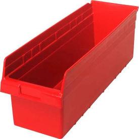 "Quantum Plastic Shelf Storage Bin QSB814 Nestable, 8-3/8""W x 23-5/8""D x 8""H, Red - Pkg Qty 6"