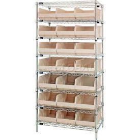 Quantum WR8-425 Chrome Wire Shelving with 21 SSB425 Stackable Shelf Bins Ivory, 36x12x74