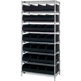 "Wire Shelf Unit, 36""W x 14""D x 74""H, with 28 SSB443 Stackable Shelf Bins, Black"