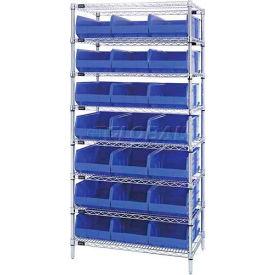 Quantum WR8-445 Chrome Wire Shelving with 21 SSB445 Stackable Shelf Bins Blue, 36x14x74
