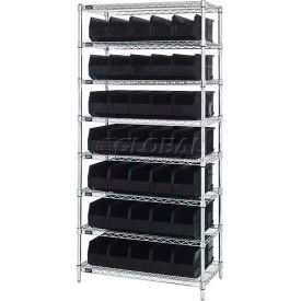 Quantum WR8-461 Chrome Wire Shelving with 35 SSB461 Stackable Shelf Bins Black, 36x18x74