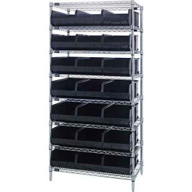 "Wire Shelf Unit, 36""W x 18""D x 74""H, with 21 SSB465 Stackable Shelf Bins, Black"
