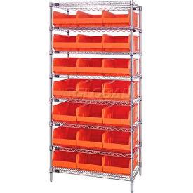 Quantum WR8-465 Chrome Wire Shelving with 21 SSB465 Stackable Shelf Bins Orange, 36x18x74