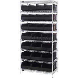 "Wire Shelf Unit, 36""W x 21""D x 74""H, with 12 SSB483 and 12 SSB485 Stackable Shelf Bins, Black"