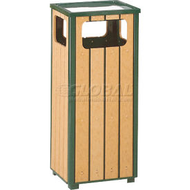 "Ash And Trash Receptacle, Green/Cedar, 12 gal capacity, 13.5""Sq x 32""H"