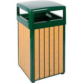 "Hinged Top Urn And Waste Receptacle, Cedar/Green, 29 gal., 21""Sq x 37""H"