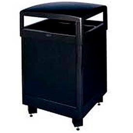 "Hinged Top Trash Container, Black, 48 gal., 26""Sq x 40""H"