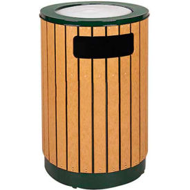"Sand Top Urn And Waste Receptacle, Cedar/Green, 40 gal., 24.5""Dia x 36""H"