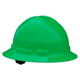 Radians QHR6 Quartz Full Brim Hardhat, 6 Point Ratchet, Green by