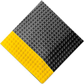 "Rhino Mats Reflex® Raised Domed Interactive Surface Anti-Fatigue Mat, 1"" Thk 2' x 3', Blk/Ylw"