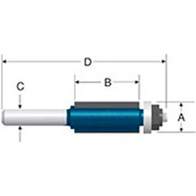 "BOSCH® 85441M 1/2"" Dia. 1/2"" Shank 1"" Cut Double Flute Flush Trim Bit W/ Ball Bearing"