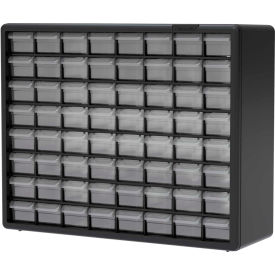 "Akro-Mils Plastic Drawer Parts Cabinet 10164 - 20""W x 6-3/8""D x 15-13/16""H, Black, 64 Drawers"