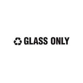 """Recycling Decals """"Glass Only"""" - White 13-1/2""""W x 1-3/4""""H Pkg Qty 1"""