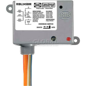 RIB Enclosed Latching Relay RIBL24SBM, 20A, 24VAC/DC, W/switch & Aux Contact by