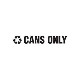 """Recycling Decals """"Cans Only"""" - White 13-1/2""""W x 1-3/4""""H Pkg Qty 1"""