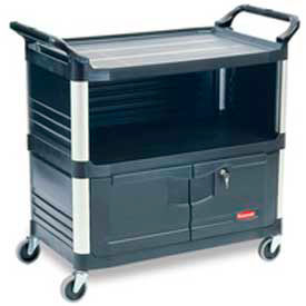 Rubbermaid® Xtra™ 4095 3 Shelf Black Equipment Locking Cabinet Cart