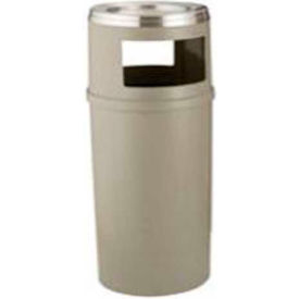 Rubbermaid 25 Gallon Plastic Ash/Trash Container w/ Hooded Top Side Openings ,Beige - FG818288BEIG