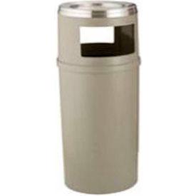 Rubbermaid 25 Gallon Plastic Ash/Trash Container w/Doors, Beige - FG818288BEIG