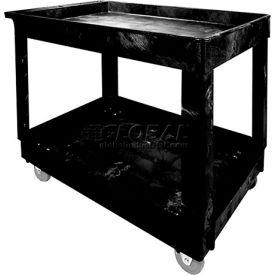 Rubbermaid® 9T67 Economical Tray Shelf Black Plastic Service Cart 40x24