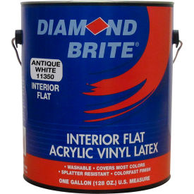 Diamond Brite Interior Flat Latex Enamel Paint, Antique White Gallon Pail 1/Case - 11350-1