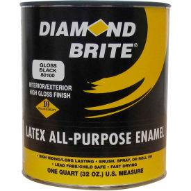 Diamond Brite Latex Gloss Enamel Paint, Gloss Black 32 Oz. Pail - 81100-4