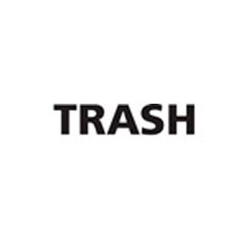 "Recycling Decals ""Trash"" - Black 6-1/2""W x 1-1/2""H Pkg Qty 1"