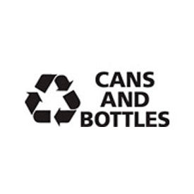 "Recycling Decals ""Cans And Bottle"" - White 8-3/4""W x 3-1/2""H Pkg Qty 1"