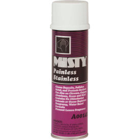 Misty Painless Stainless Steel Cleaner, 18 oz. Aerosol Can, 12 Cans - 1001557