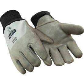 Dipped Deerskin Glove, Gray - Large