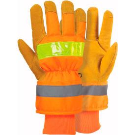 RefrigiWear® 0514RHVOLAR, HiVis™ Pig and Poly Gloves, Large