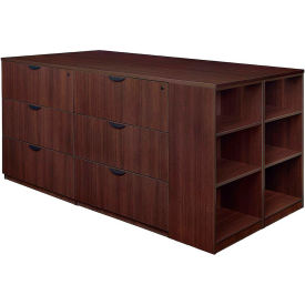 Regency Stand Up 2 Lateral File - 2 Desk Quad with Bookcase End - Java - Legacy Series