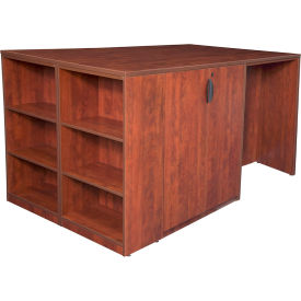 Regency Stand Up 2 Storage Cabinet - 2 Desk Quad with Bookcase End - Cherry - Legacy Series