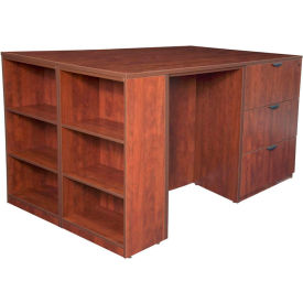Regency Stand Up Lateral File - 3 Desk Quad with Bookcase End - Cherry - Legacy Series