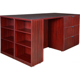 Regency Stand Up Lateral File - 3 Desk Quad with Bookcase End - Mahogany - Legacy Series