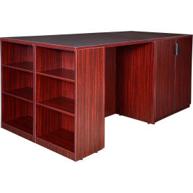 Regency Stand Up Storage Cabinet - 3 Desk Quad with Bookcase End - Mahogany - Legacy Series
