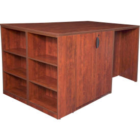 Regency Stand Up Desk - 3 Storage Cabinet Quad with Bookcase End - Cherry - Legacy Series