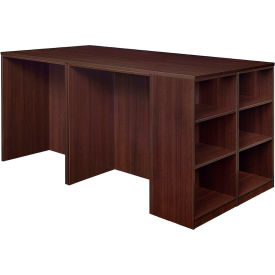 Regency Stand Up Desk Quad with Bookcase End - Java - Legacy Series