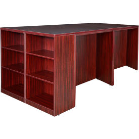 Regency Stand Up Desk Quad with Bookcase End - Mahogany - Legacy Series