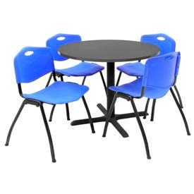 """Regency Table and Chair Set - 36"""" Round - Mocha Walnut Table / Blue Plastic Chairs"""