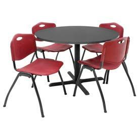 Tables Restaurant Breakroom Regency Table And Chair Set 42 Round Mocha Walnut Burgundy Plastic Chairs B210600