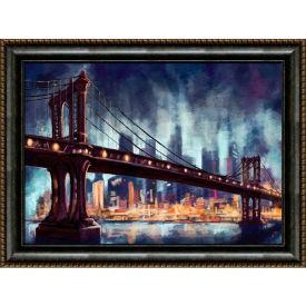 """Crystal Art Gallery - Framed Canvas w/Foil Bridge - 40""""W x 30""""H, Straight Fit Framed"""