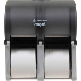 GP Compact Quad Translucent Smoke Vertical Four Roll Coreless Tissue Dispenser - 56744