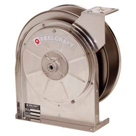 "Reelcraft 5600 OLS 3/8""x35' 500 PSI Low Pressure Stainless Steel Spring Retractable Hose Reel"