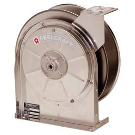 "Reelcraft 5600 OMS 3/8""x30' 300 PSI Medium Pressure Stainless Steel Spring Retractable Hose Reel"