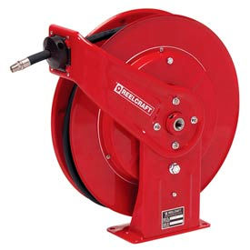 "Reelcraft 7450 OHP 1/4""x50' 5000 PSI Heavy Duty Spring Retractable High Pressure Grease Hose Reel"