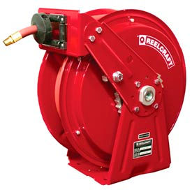 "Reelcraft DP7650 OLP 3/8""x50' 300 PSI Heavy Duty Spring Retractable Compact Dual Pedestal Hose Reel"